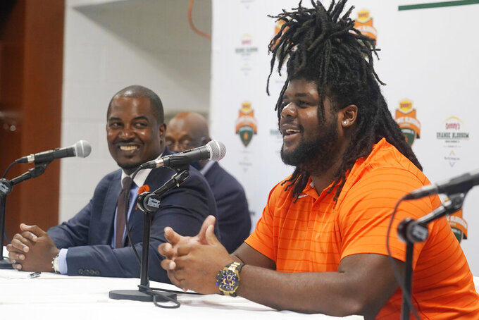 Florida A&M University lineman Keenan Forbes speaks during an NCAA college football news conference, Friday, Sept. 3, 2021, in Miami Gardens, Fla. Jackson State University and Florida A&M will play in the Orange Blossom Classic on Sunday. (AP Photo/Marta Lavandier)
