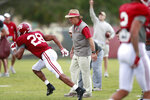 Alabama head coach Nick Saban coaches Alabama defensive back Josh Jobe during an NCAA college football practice on Wednesday, Dec. 26, 2018, in Miami Shores, Fla. Alabama plays Oklahoma in the Orange Bowl on Dec. 29. (AP Photo/Brynn Anderson)