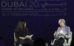 Former British Prime Minister Theresa May, right, participates in the Global Women's Forum in Dubai, United Arab Emirates, Monday, Feb. 17, 2020. (AP Photo/Kamran Jebreili)