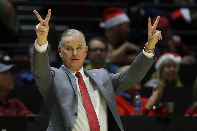 San Diego State head coach Brian Dutcher reacts during the second half of an NCAA college basketball game against San Diego Christian Wednesday, Dec. 18, 2019, in San Diego. (AP Photo/Gregory Bull)