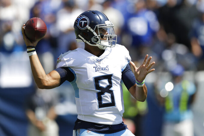 Tennessee Titans quarterback Marcus Mariota passes against the Indianapolis Colts before an NFL football game Sunday, Sept. 15, 2019, in Nashville, Tenn. (AP Photo/James Kenney)