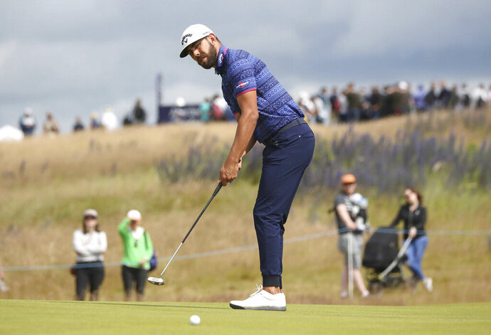 South Africa's Erik Van Rooyen on the 6th green during day two of the Scottish Open golf tournament at The Renaissance Club, in North Berwick, Scotland, Friday July 12, 2019. (Jane Barlow/PA via AP)