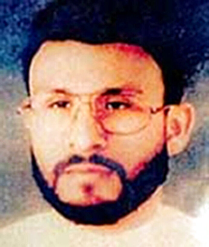 FILE - This undated file photo provided by U.S. Central Command, shows Abu Zubaydah, date and location unknown. A federal appeals court hearing the case of a Guantanamo Bay inmate who was subjected to brutal treatment by the CIA after being detained following the 9/11 attacks took the rare step of calling