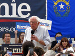 Sen. Bernie Sanders, I-Vt., speaks to several hundred people while campaigning for president at a town hall meeting at the Carson City Convention Center, Friday, Sept. 13, 2019, in Carson City, Nev. He said former Vice President Joe Biden is distorting Sanders'