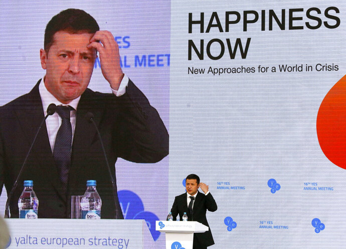 Ukrainian President Volodymyr Zelenskiy address the 16th Yalta European Strategy (YES) annual meeting entitled