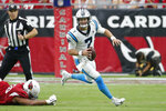 "FILE - In this Sunday, Sept. 22, 2019, file photo, Carolina Panthers quarterback Kyle Allen (7) rolls out during an NFL football game against the Arizona Cardinals in Glendale, Ariz. Allen said he knew he wasn't going to get drafted when he decided to turn pro after his junior season of college. But he added that he was OK with that and that he was willing to ""bet on myself,"" confident he would make it in the NFL. (AP Photo/Rick Scuteri, File)"