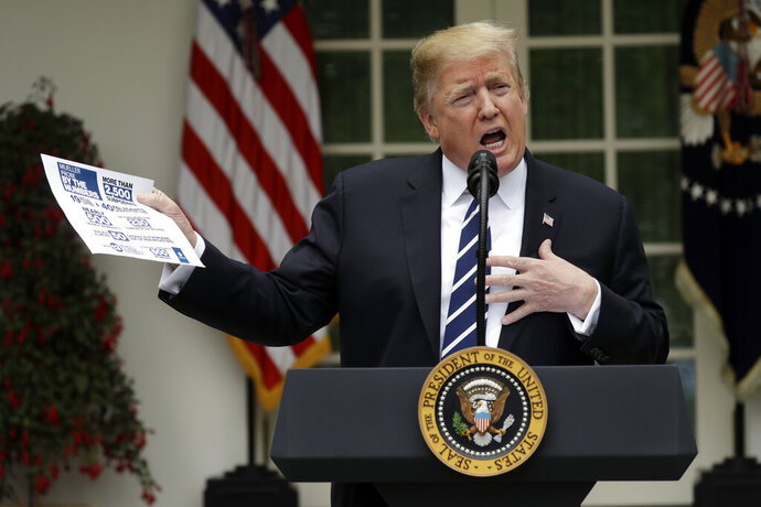 In this May 22, 2019, photo, President Donald Trump speaks in the Rose Garden of the White House in Washington. (AP Photo/Evan Vucci)