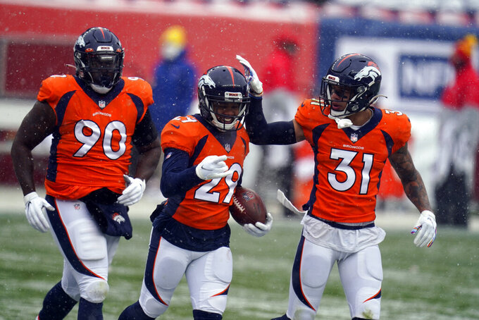 Denver Broncos cornerback Bryce Callahan (29) reacts with teammates free safety Justin Simmons (31) and defensive end DeShawn Williams (90) after recovering a fumble during the first half of an NFL football game against the Kansas City Chiefs, Sunday, Oct. 25, 2020, in Denver. (AP Photo/Jack Dempsey)