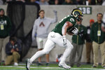 Colorado State tight end Trey McBride rolls in for a touchdown after catching a pass against Air Force in the first half of an NCAA football game Saturday, Nov. 16, 2019 in Fort Collins, Colo. (AP Photo/David Zalubowski)