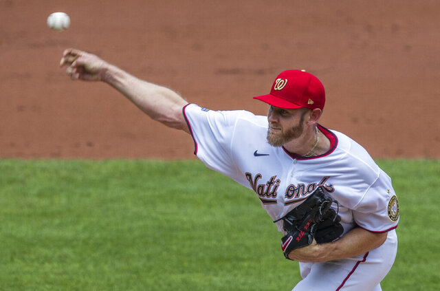 Washington Nationals starting pitcher Stephen Strasburg throws during the second inning of a baseball game against the Baltimore Orioles in Washington, Sunday, Aug. 9, 2020. (AP Photo/Manuel Balce Ceneta)
