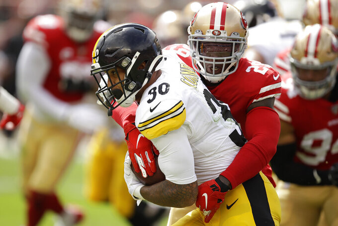 Pittsburgh Steelers running back James Conner (30) runs against San Francisco 49ers strong safety Jaquiski Tartt (29) during the first half of an NFL football game in Santa Clara, Calif., Sunday, Sept. 22, 2019. (AP Photo/Ben Margot)