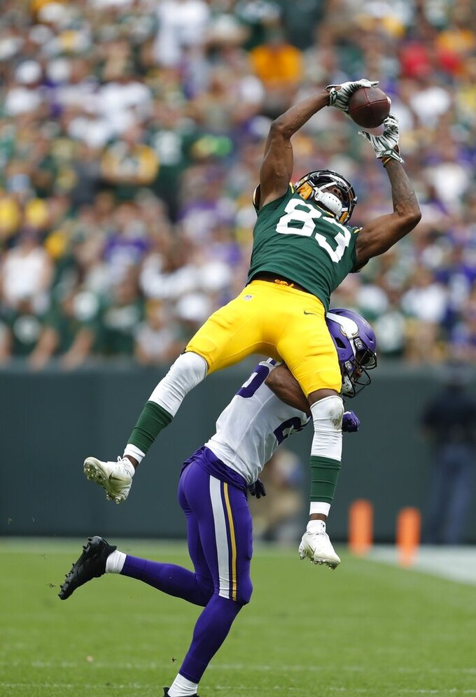 Minnesota Vikings' Trae Waynes breaks up a pass intended for Green Bay Packers' Marquez Valdes-Scantling during the second half of an NFL football game Sunday, Sept. 15, 2019, in Green Bay, Wis. (AP Photo/Matt Ludtke)