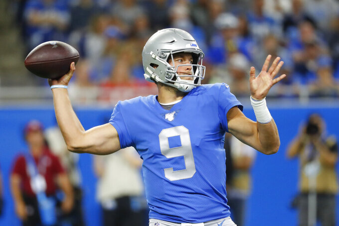 FILE - In this Sept. 29, 2019, file photo, Detroit Lions quarterback Matthew Stafford throws during the first half of an NFL football game against the Kansas City Chiefs in Detroit. Stafford was put on the reserve/COVID-19 list by the Lions, according to the league's transactions report Saturday, Aug. 1, 2020. The list was created for players who either test positive for COVID-19 or have been in close contact with an infected person. (AP Photo/Paul Sancya, File)