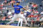 New York Mets starting pitcher Taijuan Walker delivers during the second inning of a baseball game against the Washington Nationals, Sunday, Sept. 5, 2021, in Washington. (AP Photo/Nick Wass)