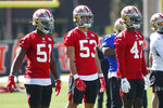 San Francisco 49ers linebackers Azeez Al-Shaair (51) Mark Nzeocha (53), of Germany, and Elijah Lee (47) line up during practice, Thursday, Jan. 30, 2020, in Coral Gables, Fla., for the NFL Super Bowl 54 football game. (AP Photo/Wilfredo Lee)