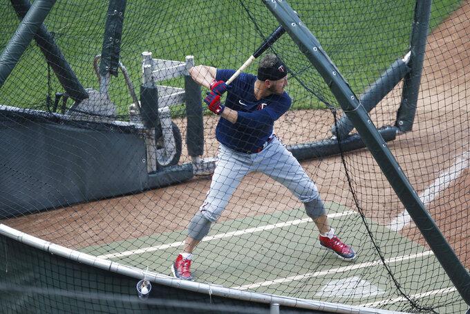 Minnesota Twins' Josh Donaldson takes batting practice during the baseball summer camp Wednesday, July 8, 2020 in Minneapolis. (AP Photo/Jim Mone)