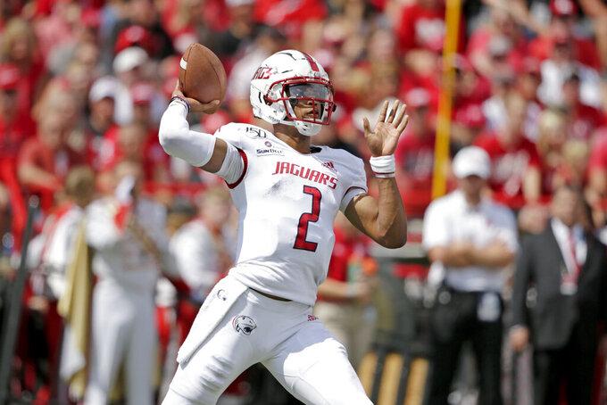 South Alabama quarterback Cephus Johnson (2) throws a pass during the first half of an NCAA college football game against Nebraska in Lincoln, Neb., Saturday, Aug. 31, 2019. (AP Photo/Nati Harnik)