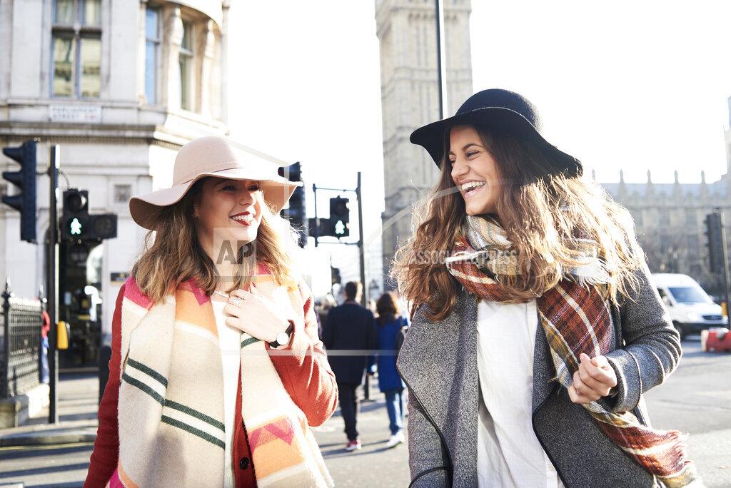UK, London, two happy women in the city near Big Ben
