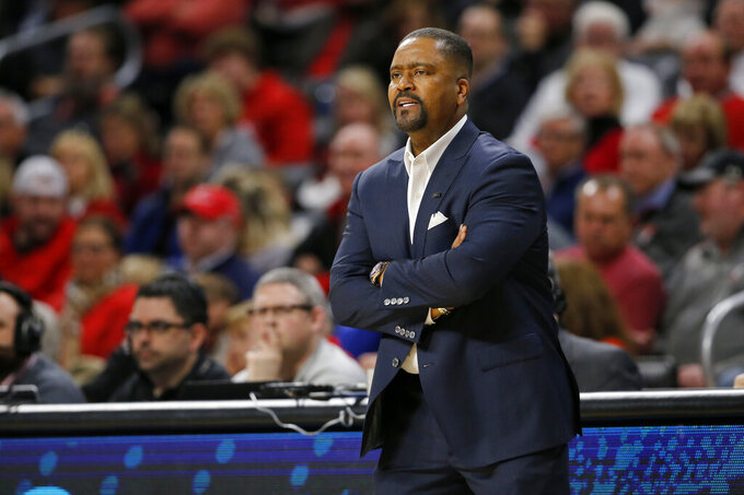 Tulsacoach Frank Haith watches his team during the first half of an NCAA college basketball game against Cincinnati Thursday, Jan. 24, 2019, in Cincinnati. (Sam Greene/The Cincinnati Enquirer via AP)