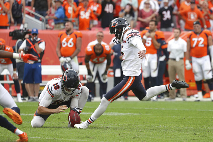 Chicago Bears kicker Eddy Pineiro (15) kicks a 53-yard field goal to win the game during an NFL game against the Denver Broncos, Sunday Sept. 15, 2019, in Denver. The Bears defeated the Broncos 16-14. (Margaret Bowles via AP)