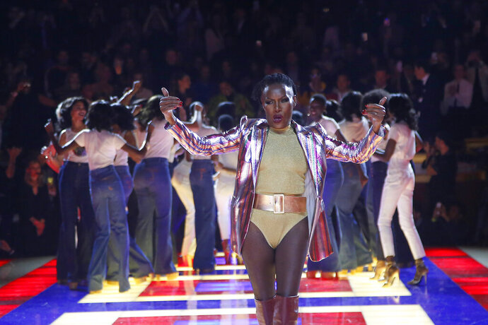 Singer Grace Jones wears a creation as part of the Tommy Now ready to wear Fall-Winter 2019-2020 collection, that was presented in Paris, Saturday, March 2, 2019. (AP Photo/Michel Euler)