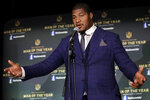 Jacksonville Jaguars' Calais Campbell speaks after winning the Walter Payton NFL Man of the Year trophy at the NFL Honors football award show Saturday, Feb. 1, 2020, in Miami. (AP Photo/Patrick Semansky)