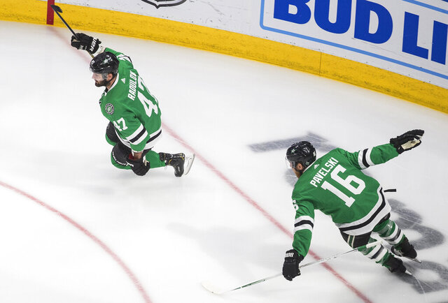 Dallas Stars' Alexander Radulov (47) celebrate his overtime goal against the Vegas Golden Knights with Joe Pavelski (16) in Game 3 of the NHL hockey Western Conference final, Thursday, Sept. 10, 2020, in Edmonton, Alberta. The Stars won 3-2. (Jason Franson/The Canadian Press via AP)