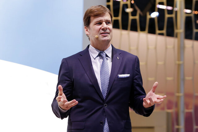 FILE - This March 28, 2018 file photo shows Jim Farley, Jr. during New York International Auto Show.  On his first day in Ford's top job, new CEO, Farley is replacing the company's chief financial officer and announcing other structural and management changes. The company says in a statement Thursday, Oct. 1, 2020 that Chief Financial Officer Tim Stone is leaving Oct. 15 to be chief operating officer at a small artificial intelligence company.  (AP Photo/Richard Drew, File)