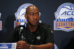 Wake Forest coach Danny Manning listens to a question during the Atlantic Coast Conference NCAA college basketball media day in Charlotte, N.C., Tuesday, Oct. 8, 2019. (AP Photo/Nell Redmond)