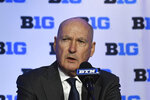 CORRECTS YEAR TO 2019, NOT 2018 AS ORIGINALLY SENT - Big Ten Commissioner Jim Delany speaks at a press conference during the Big Ten conference NCAA college basketball media day Wednesday, Oct. 2, 2019, in Rosemont, Ill. (AP Photo/David Banks)