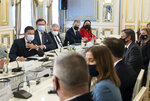 In this photo released by the Ukrainian Presidential Press Office, Ukrainian President Volodymyr Zelenskyy, left, and U.S. Secretary of State Antony Blinken, second right, attend the during their meeting talks in Kyiv, Ukraine, Thursday, May 6, 2021. Secretary of State Antony Blinken has met with top Ukrainian officials in Kyiv and reaffirmed Washington's support for the country in the wake of heightened tensions with Russia. (Ukrainian Presidential Press Office via AP)