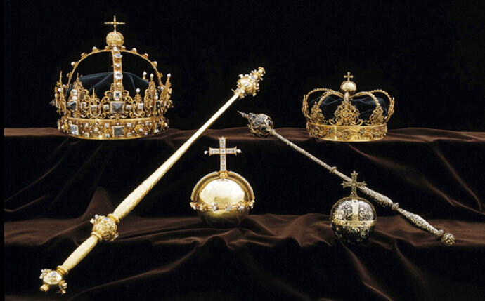 FILE - This file image made available on Wednesday Aug. 1, 2018 by the Swedish Police, shows a collection of Swedish Crown jewels that were stolen from Strangnas cathedral. A 22-year-old Swede has been sentenced to four and a half years in prison after he was convicted of stealing 17th-century Swedish royal treasures estimated to be worth 65 million kronor ($7 million) from a cathedral last year, it was reported on Friday, Feb. 22, 2019. (Swedish Police via AP, File)