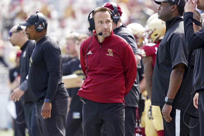 Boston College head coach Jeff Hafley looks on from the sideline during the second half of an NCAA college football game against Missouri, Saturday, Sept. 25, 2021, in Boston. (AP Photo/Mary Schwalm)