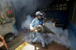 In this photo taken on Sept. 4, 2019, a worker fumigates inside at home in an attempt to control the spread of mosquito-borne diseases in Managua, Nicaragua. As a region, Central America and Mexico have already recorded nearly double the number of dengue cases as in all the previous year. Guatemala, Mexico and Nicaragua have seen double-digit death tolls.  (AP Photo/Alfredo Zuniga)