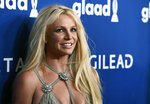 FILE - This April 12, 2018 file photo shows Britney Spears at the 29th annual GLAAD Media Awards in Beverly Hills, Calif. Though Black Out Tuesday was originally organized by the music community, the social media world went dark on Tuesday in support of the Black Lives Matter movement and the many killings of black people around the world that has caused outrage and protests.