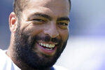 New England Patriots middle linebacker Kyle Van Noy faces reporters following a joint NFL football practice with the New York Giants, Thursday, Aug. 26, 2021, in Foxborough, Mass. (AP Photo/Steven Senne)