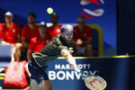 Norway's Viktor Durasovic plays against Russia's Karen Khachanov during their match at the ATP Cup in Perth, Australia, Tuesday, Jan. 7, 2020. (AP Photo/Trevor Collens)