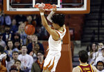 Texas forward Jaxson Hayes (10) scores with a slam dunk against Iowa State during the first half of an NCAA college basketball game, Saturday, March 2, 2019, in Austin, Texas. (AP Photo/Eric Gay)