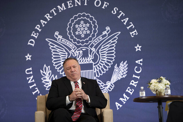 Secretary of State Mike Pompeo speaks at the National Constitution Center about the Commission on Unalienable Rights, Thursday,  July 16, 2020, in Philadelphia. (Brendan Smialowski/Pool via AP)