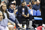 Washington Wizards' John Wall (2) sits on the bench during a timeout in the second half of the team's NBA basketball game against the Boston Celtics, Tuesday, April 9, 2019, in Washington. The Celtics won 116-110. (AP Photo/Nick Wass)