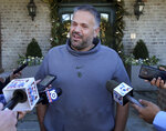 Former Baylor head football coach Matt Rhule speaks to reporters outside his home Tuesday Jan. 7, 2020, in Waco, Texas.  According to a person familiar with the situation, the Carolina Panthers are completing a contract to hire Baylor's Matt Rhule as their coach. The Panthers have not spoken publicly about the coaching search.(Jerry Larson/Waco Tribune-Herald via AP)