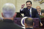 Puerto Rico's Gov. Ricardo Rossello delivers his commonwealth addressat the seaside Capitol, in San Juan, Puerto Rico, Wednesday, April 24, 2019. Rossello pledged on Wednesday to lift the U.S. territory from a deep recession by creating more jobs, reversing a migration exodus and implementing a range of incentives as the island struggles to recover from Hurricane Maria. (AP Photo/Carlos Giusti)