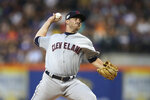 Cleveland Indians starting pitcher Aaron Civale delivers against the New York Mets during the first inning of a baseball game Thursday, Aug. 22, 2019, in New York. (AP Photo/Mary Altaffer)