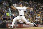 Milwaukee Brewers relief pitcher Brent Suter throws during the sixth inning of a baseball game against the San Diego Padres Tuesday, Sept. 17, 2019, in Milwaukee. (AP Photo/Morry Gash)