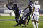 TCU cornerback C.J. Ceasar II (9) comes up with the ball after an interception against Louisiana Tech in the third quarter during an NCAA college football game, Saturday, Dec. 12, 2020. (AP Photo/ Richard W. Rodriguez)