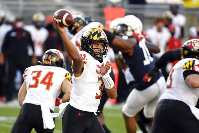 Maryland quarterback Taulia Tagovailoa (3) passes against Penn State in the first quarter of an NCAA college football game in State College, Pa., Saturday, Nov. 7, 2020. (AP Photo/Barry Reeger)