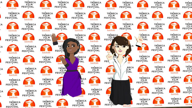 This image released by Baobab Studios shows avatars representing Jennifer Hudson, left, and Daisy Ridley at the VR premiere of their short film
