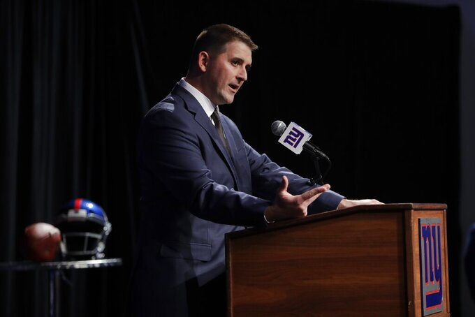 New York Giants new NFL football head coach Joe Judge speaks during a news conference Thursday, Jan. 9, 2020, in East Rutherford, N.J. (AP Photo/Frank Franklin II)