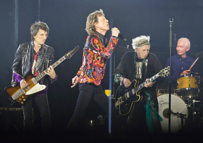 FILE - In this Oct. 22, 2017, file photo from left, Ronnie Wood, Mick Jagger, Keith Richards and Charlie Watts of the Rolling Stones perform during the concert of their