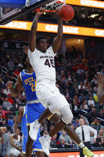 Arizona State's Zylan Cheatham dunks against UCLA during the second half of an NCAA college basketball game in the quarterfinals of the Pac-12 men's tournament Thursday, March 14, 2019, in Las Vegas. (AP Photo/John Locher)